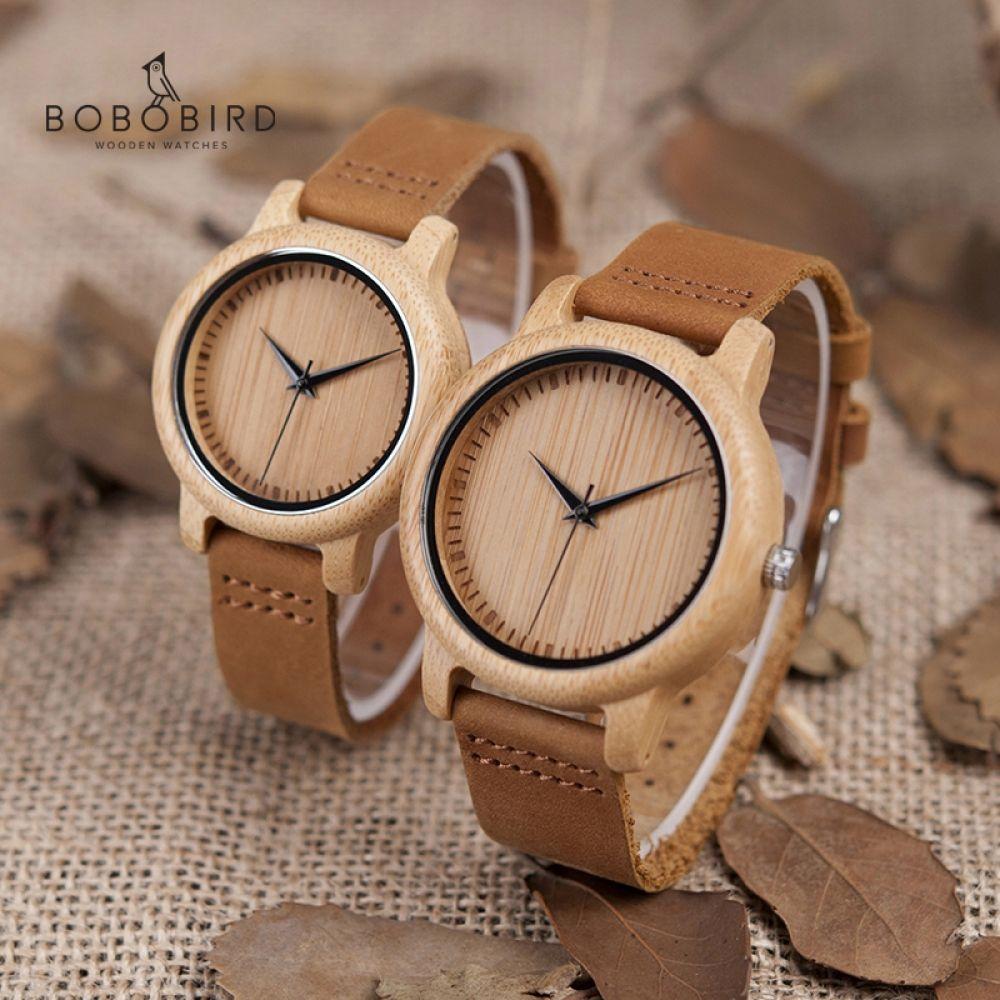 Relojes pulsera para mujer, madera de bambú Reloj
