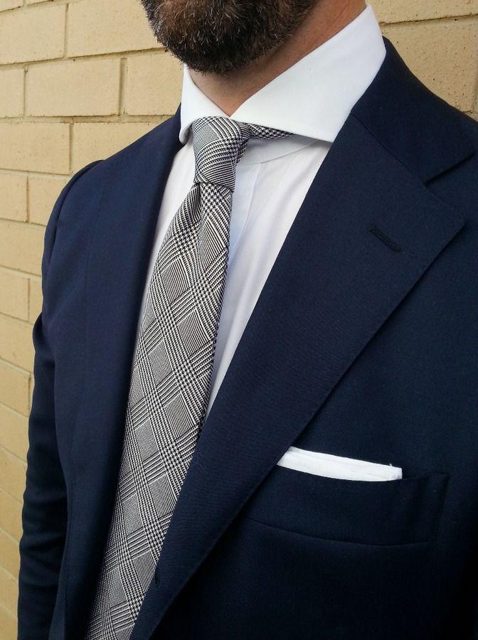Navy suit white shirt black white glen plaid tie for Navy suit black shirt