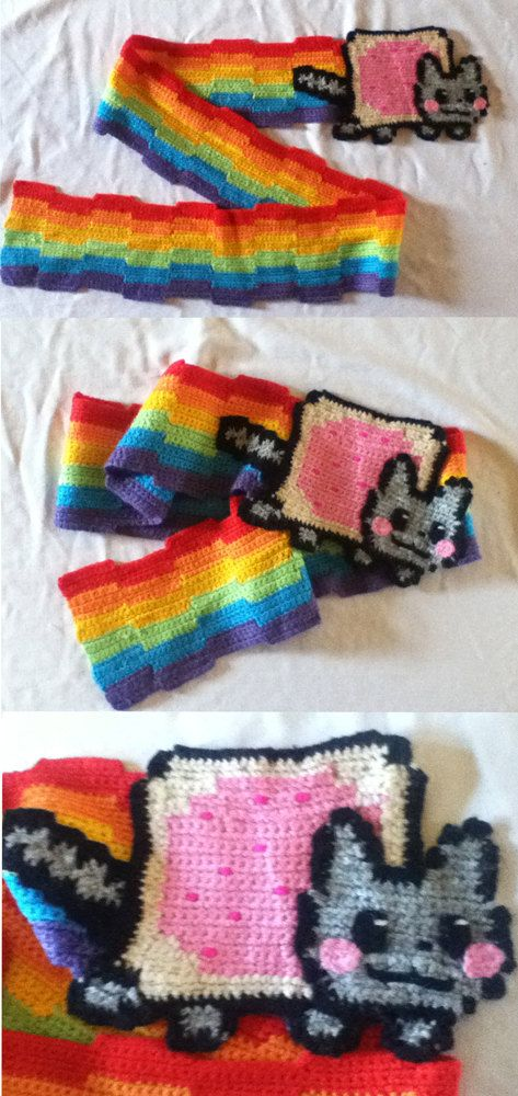 nyan cat scarf. Wearing this anywhere will immediately raise things ...
