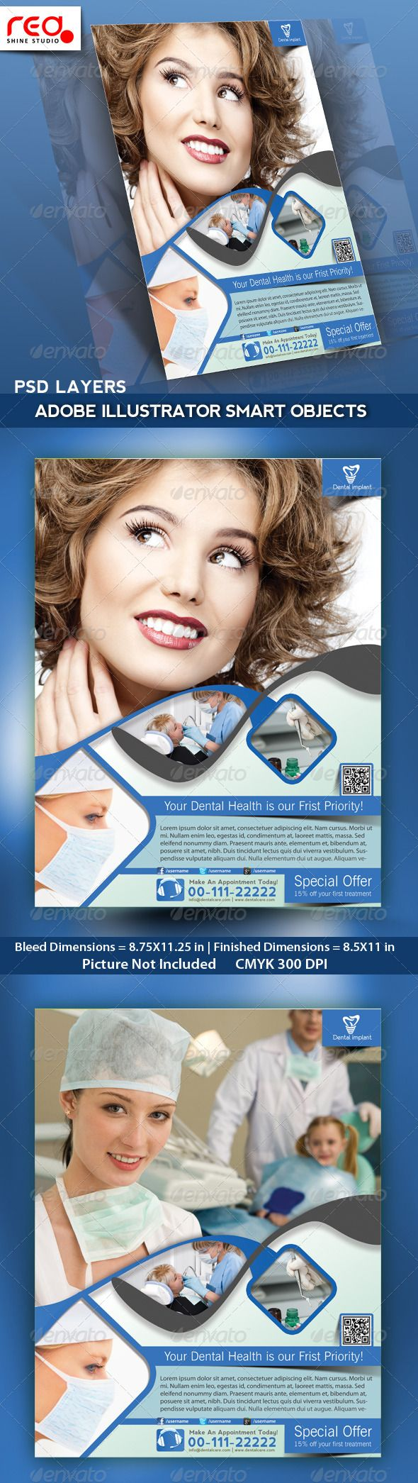 Dental Flyer, Poster & Magazine Template | Flyer template