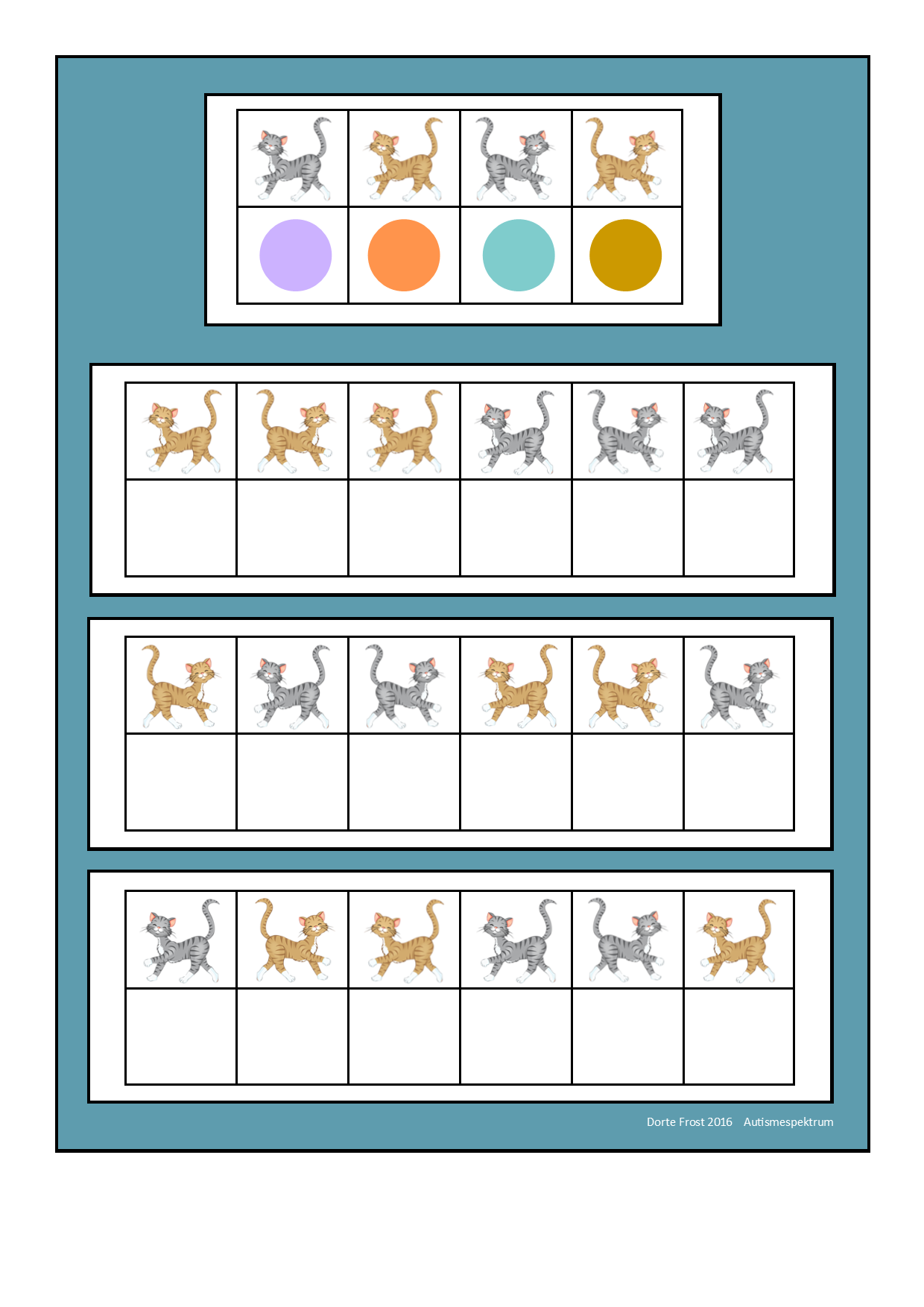 Board for the cat visual perception game. Find the belonging tiles ...