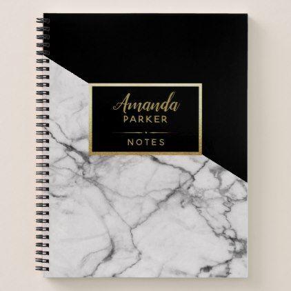 Stylish Black White Marble Texture Designer Notes Notebook | Zazzle.com