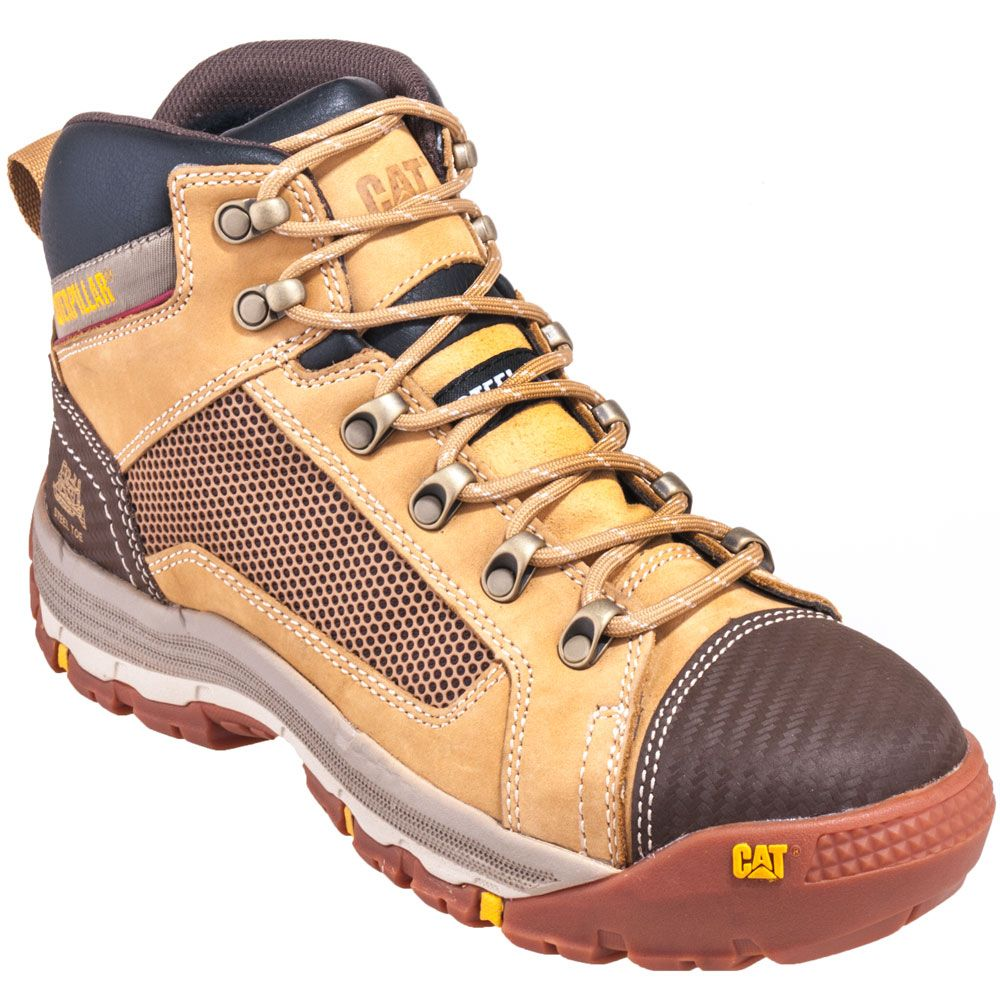 Cat Caterpillar Boots Mens Steel Toe Eh Tan Slip Resistant Sepatu Safety 90522 Mensboots