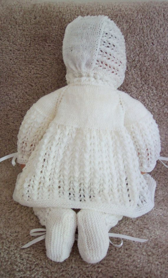 Handmade Knit Baby or Reborn Sweater hat booties set layette white ...