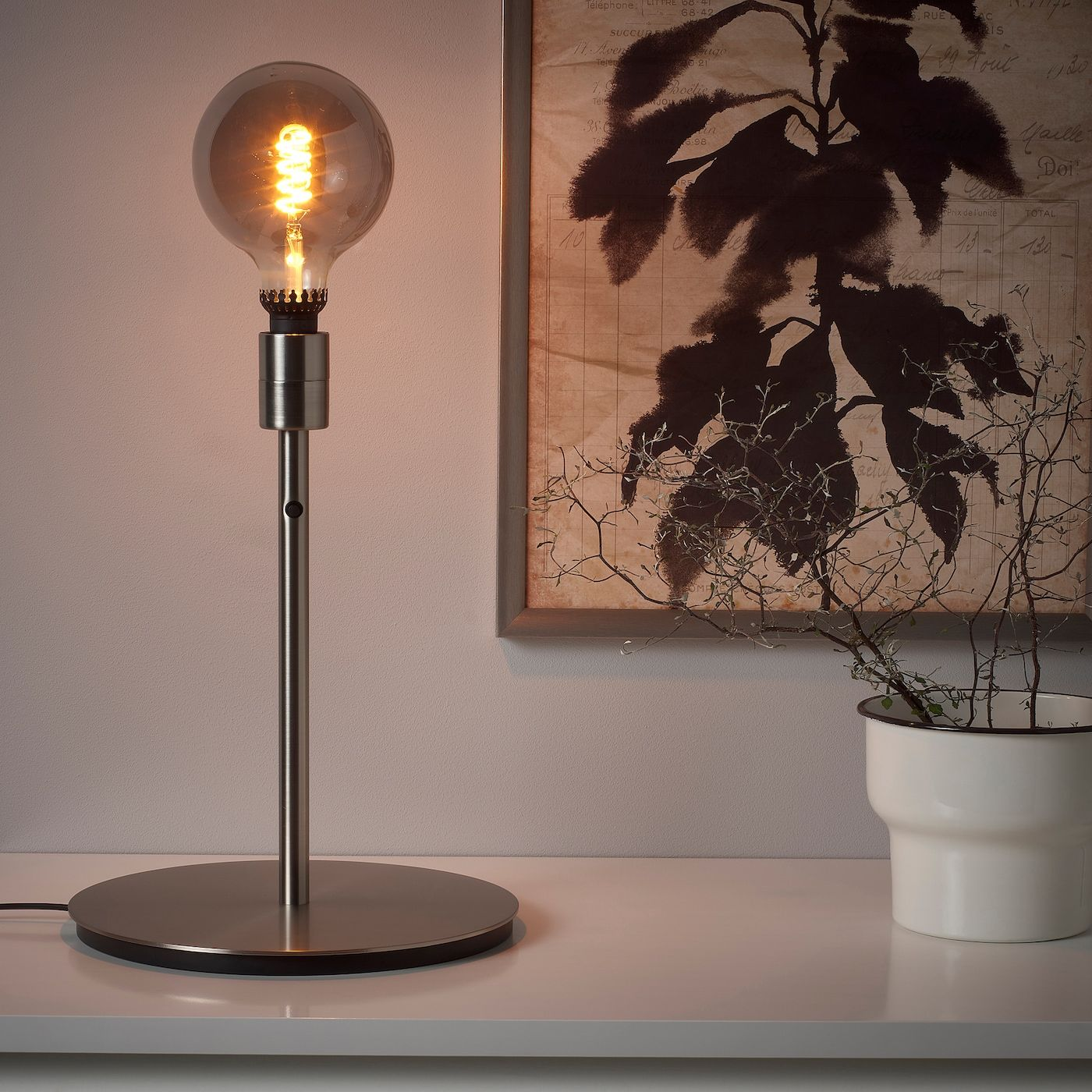 Skaftet Table Lamp Base With Led Bulb Nickel Plated Ikea In 2020 Led Leuchtmittel Lampentisch Gluhbirne Retro
