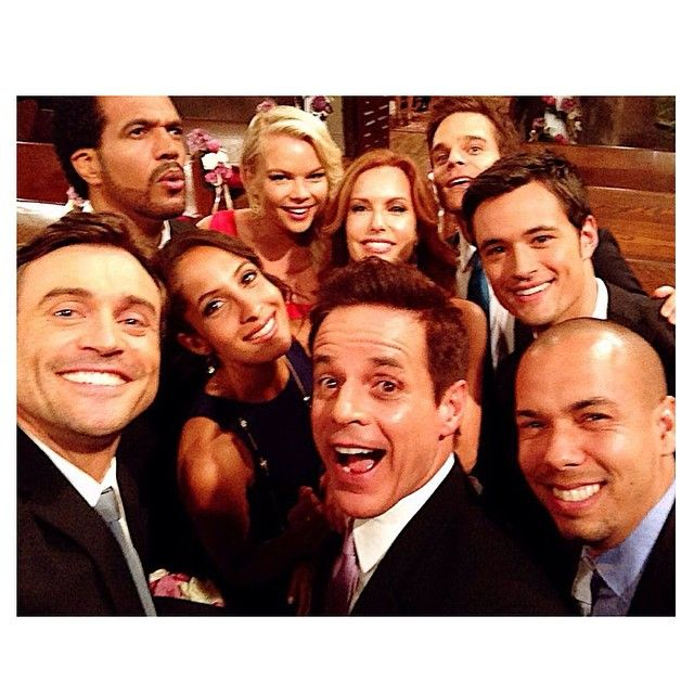 Front row: Daniel Goddard, Christian LeBlanc, Bryton James. Middle row: Christel Khalil, Tracey Bregman, Matthew Atkinson Back row: Kristoff St John, Kelli Goss, Greg Rikaart, at CBS Studios August 25, 2014