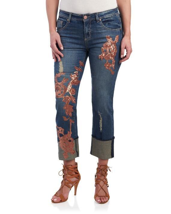 Floral Copper Sequin Cuffed Boyfriend Jeans