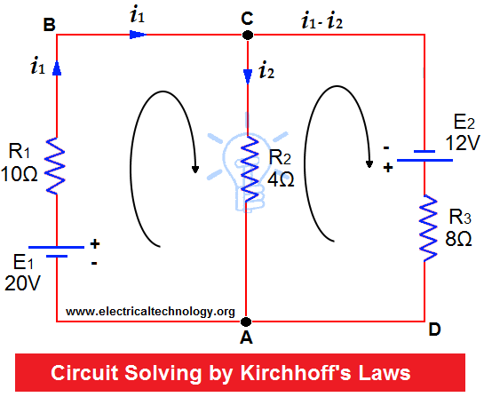 Kirchhoff S Current Voltage Law Kcl Kvl Solved Example Electronic Engineering Electricity Power Engineering