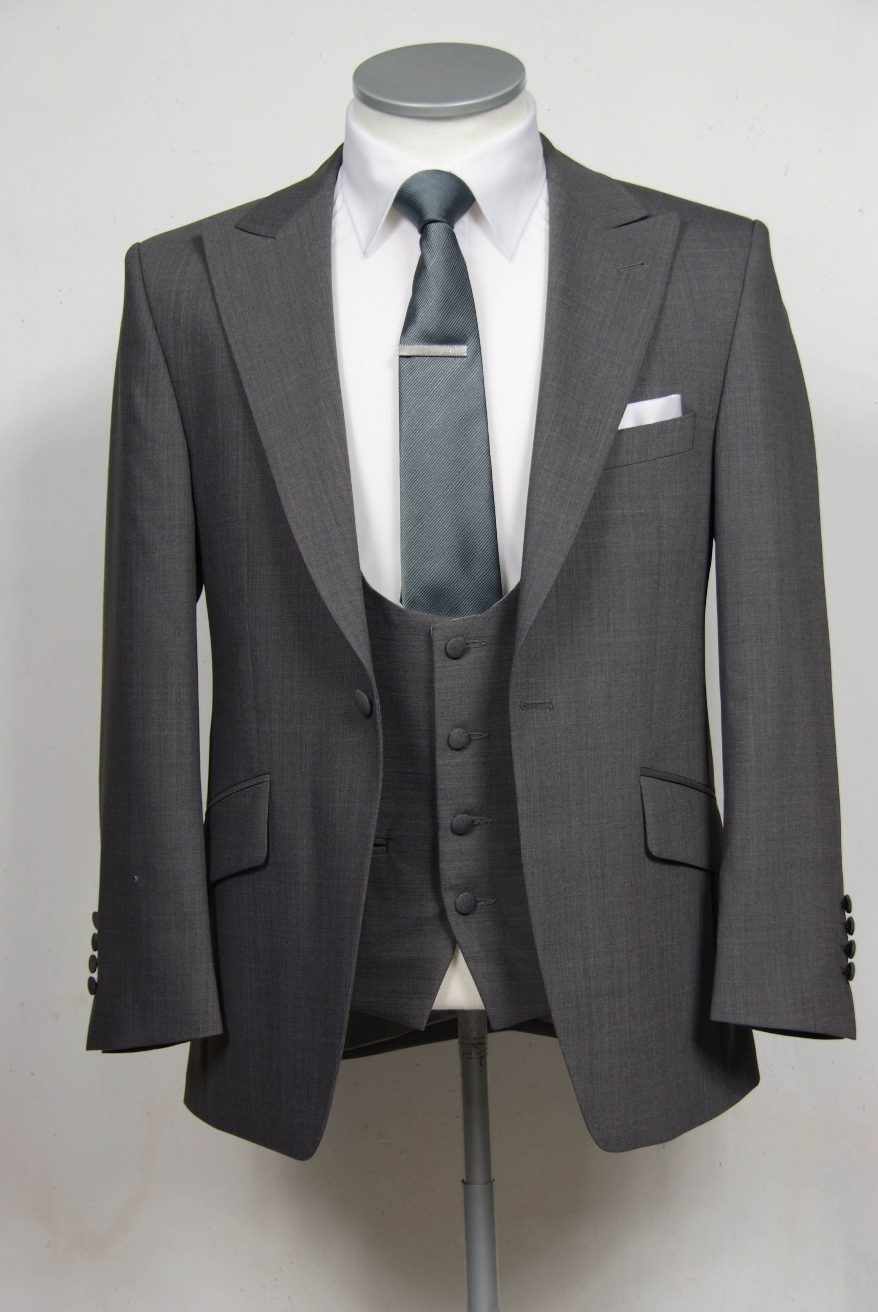 Grey grooms wedding suit slim fit light weight wool with for Can you wear cufflinks on a regular shirt