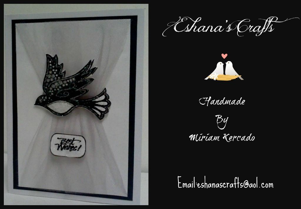Best Wishes Wedding Card- This card was made using gray tulle, white and black pearl card stock, hand stamped in black ink, bird was outlined in glittered glue.