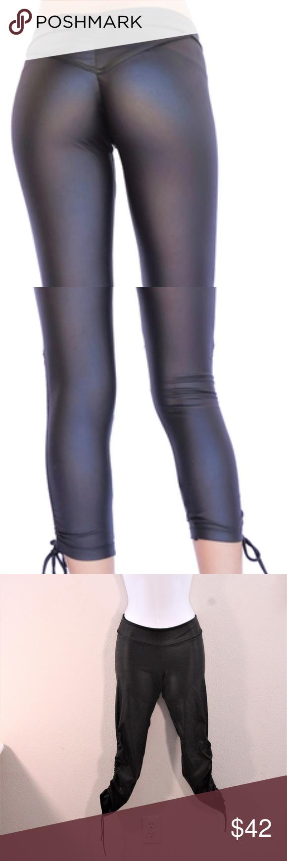 4e6102b1d6193 Mia Brazilia Wet Look Scrunch Athletic Leggings Mia Brazilia Wet Look  Scrunch Athletic Leggings Amazing Bamboo Supplex blend Black Leather Look  Fabric ...