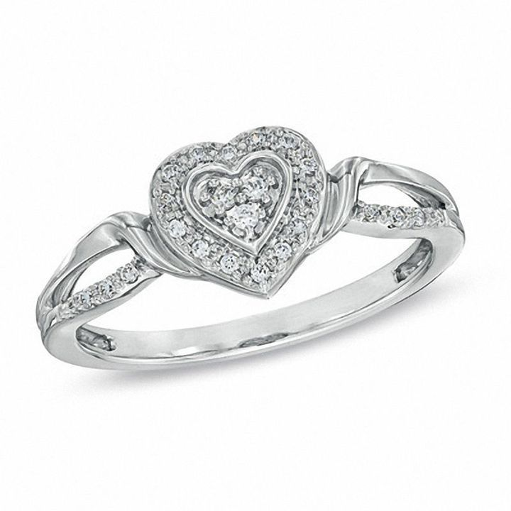 Zales 1/10 CT. T.w. Diamond Square Frame Promise Ring in Sterling Silver ZWSbB95ZZx