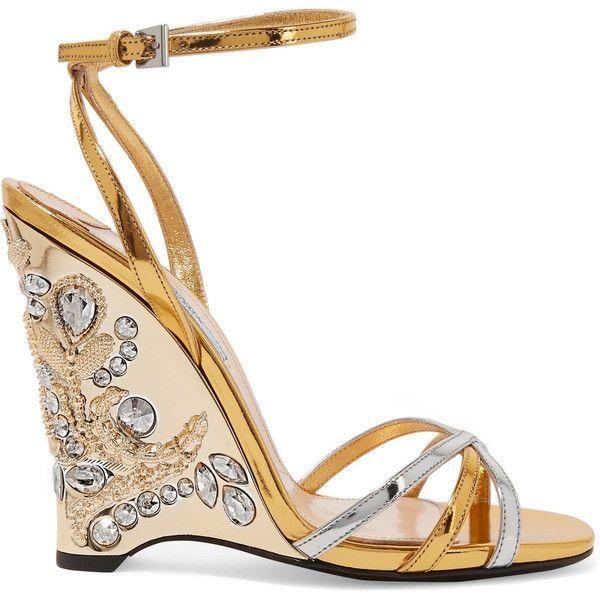 11885061df82 Prada Embellished metallic leather wedge sandals (1