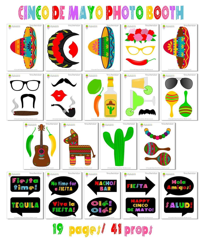 Printable Cinco De Mayo Photo Booth Props Mexican Fiesta Props In