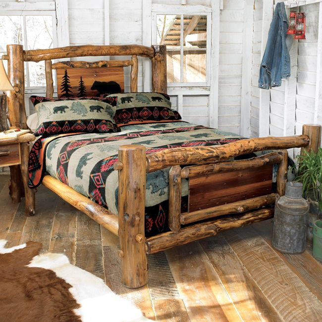 Aspen log bed frame country western rustic wood bedroom furniture decor log bed frame wood Mountain home bedroom furniture