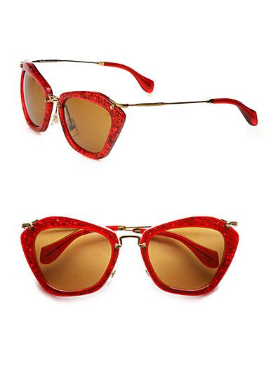 7ff7ebaa9d94 Miu Miu Sparkle Cat Eye Pentagon Sunglasses