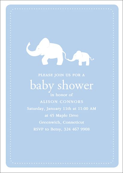 Perfect Baby Elephant Baby Shower Invite Blue :: Twinkl Made