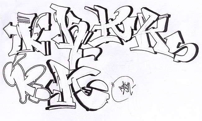 how to draw the letter k in graffiti