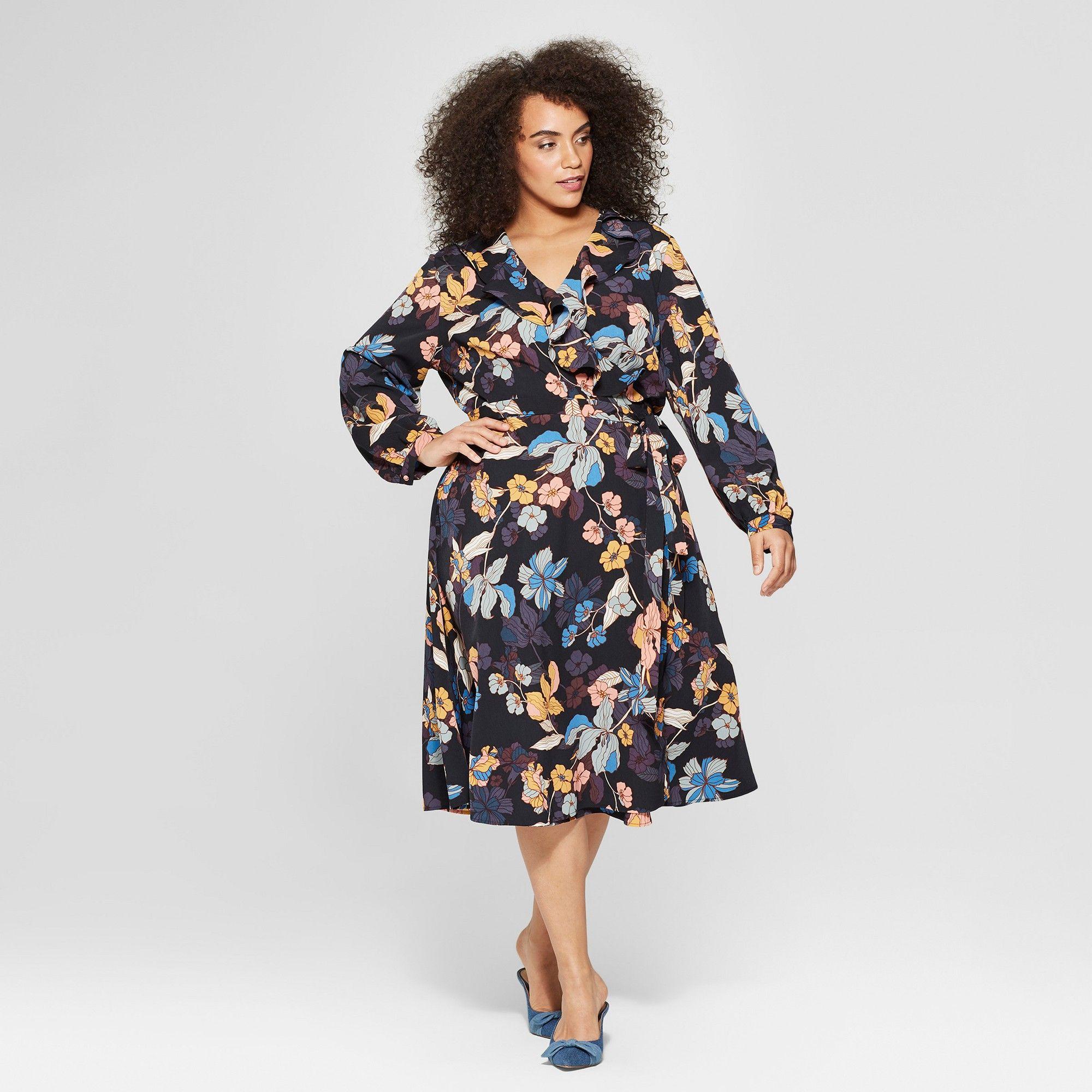 099b50005c9 Women's Plus Size Floral Print Long Sleeve Ruffle Wrap Midi Dress ...