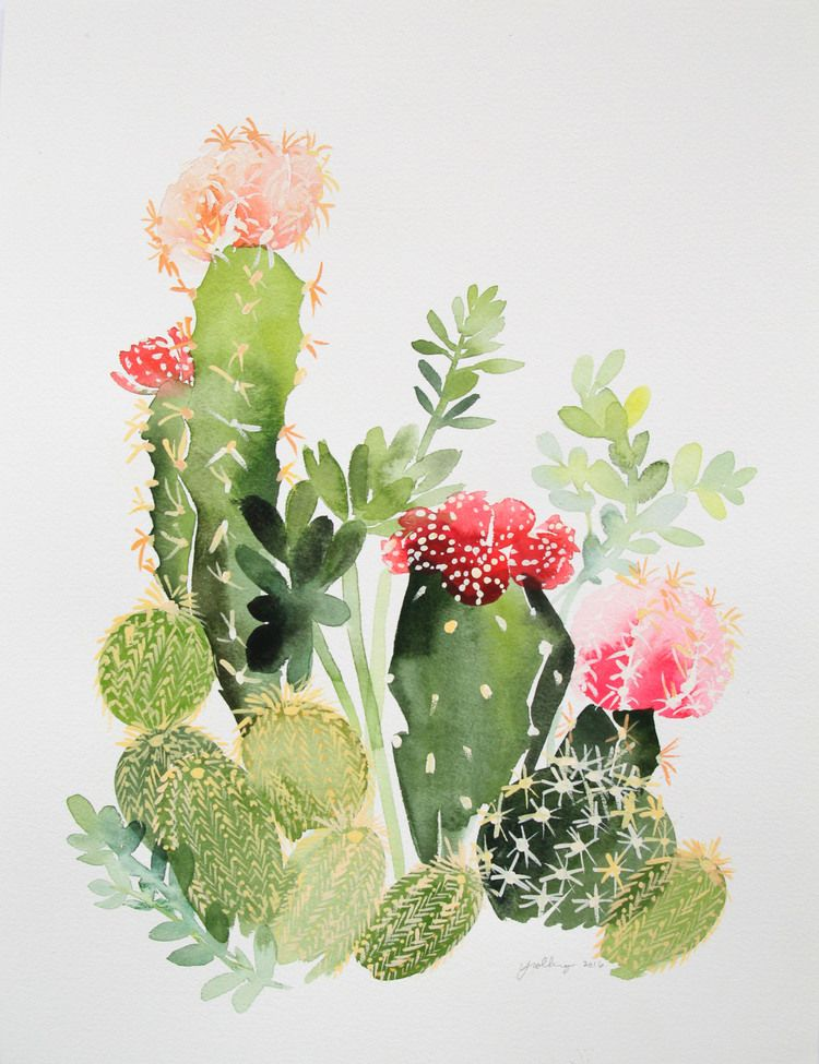 Watercolor Cactus Hand Painted Desert Succulents Wall Art