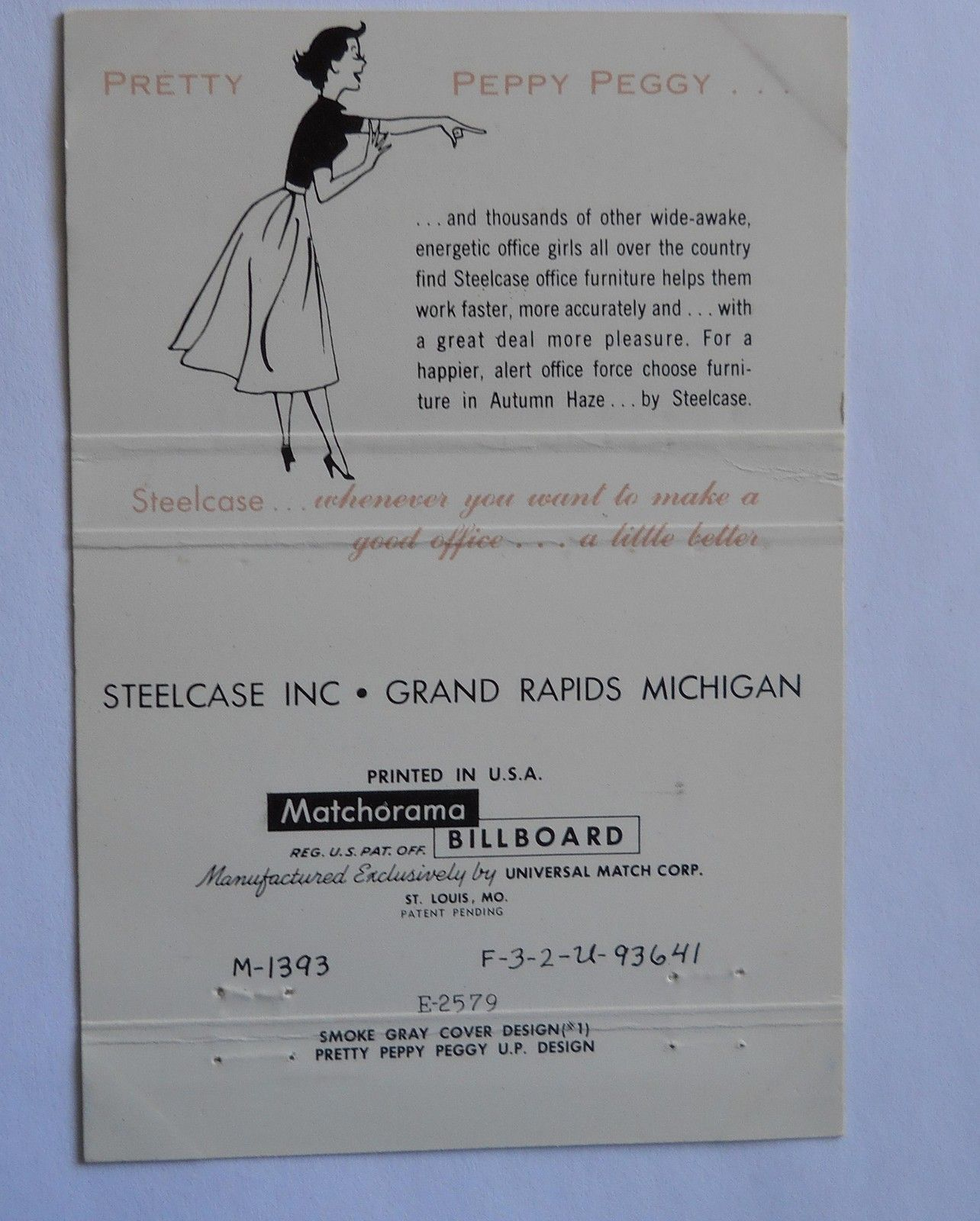Steelcase Advertising Inside A Matchbook Cover