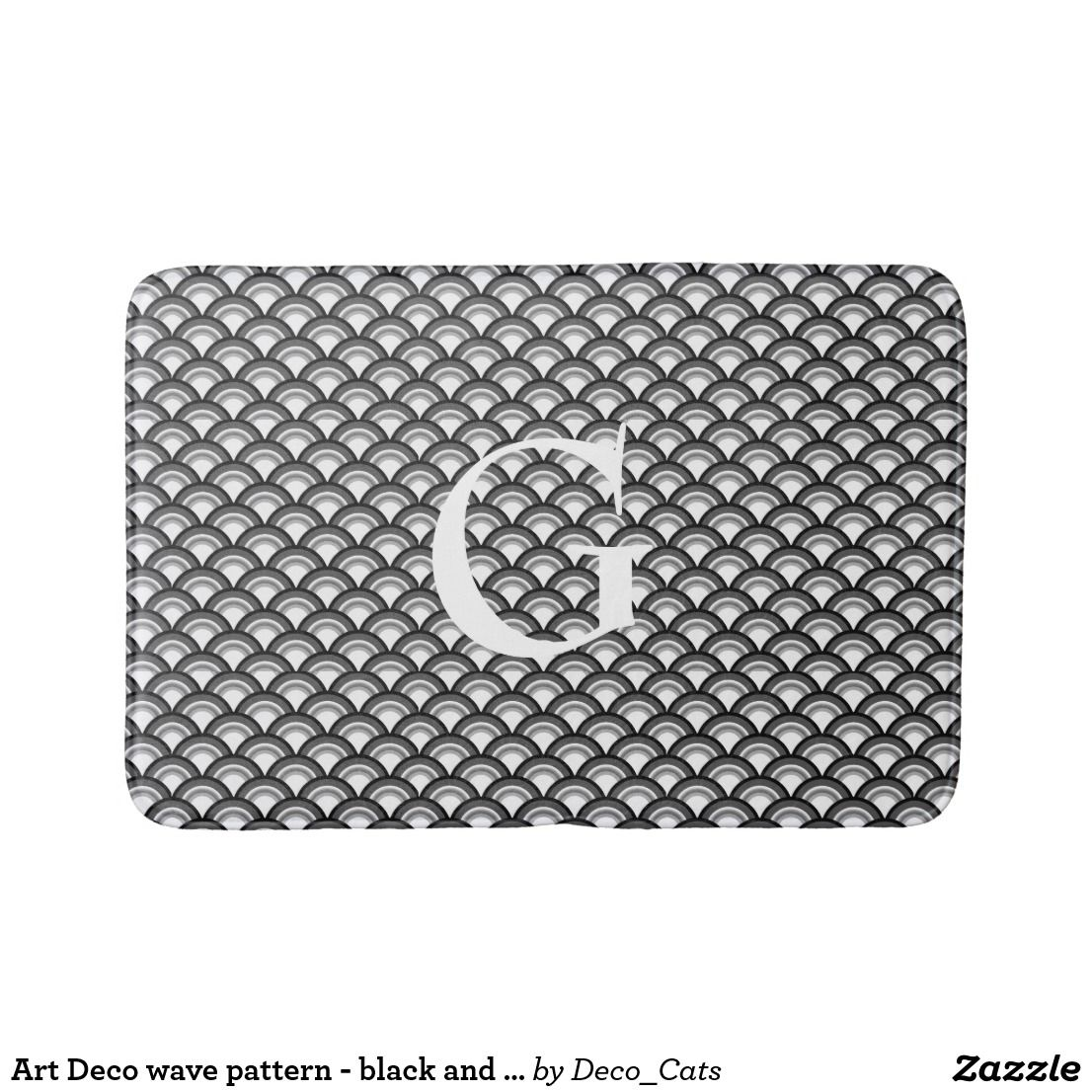 Art Deco Wave Pattern  Black And White Bathroom Mat  Bath Mat Interesting Black And White Bathroom Rugs Review