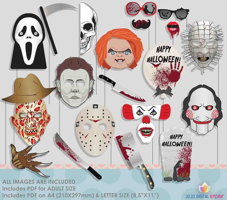 Horror Movie Halloween Photo Booth Props For Scary