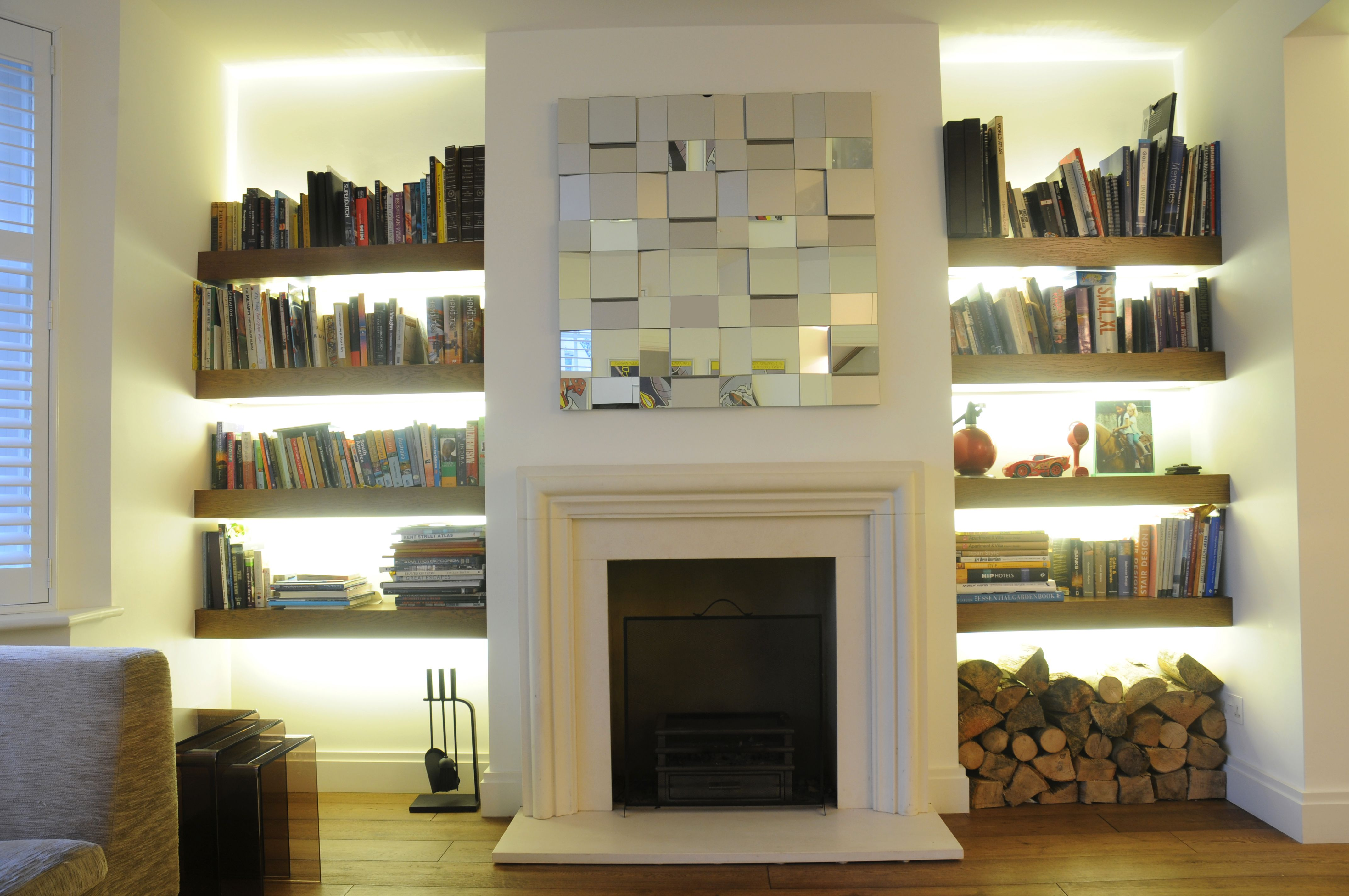 dwell modern gas fire places with tv and bookshelves | there are great contemporary fires around that don t need