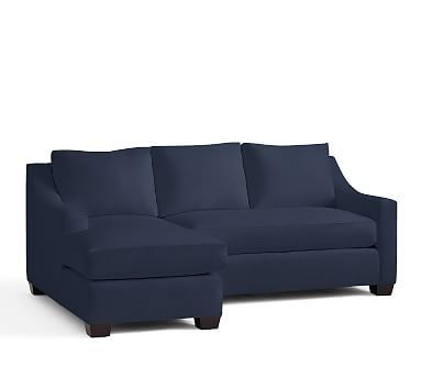 York Slope Arm Upholstered Right Arm Sofa with Chaise Sectional, Down Blend Wrapped Cushions, Twill Cadet Navy