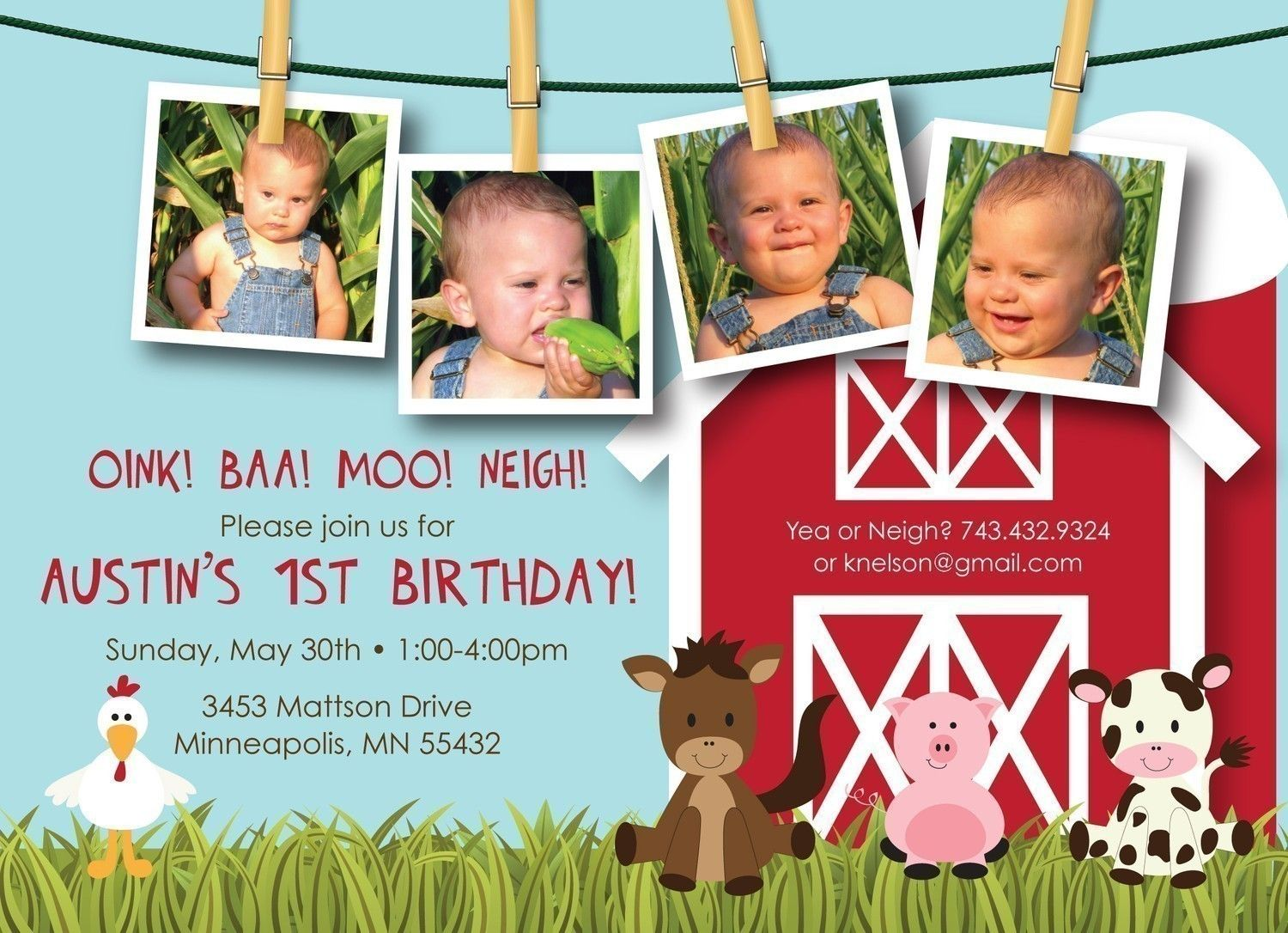 Farm Friends First Birthday Custom Photo Birthday Invitation – Custom 1st Birthday Invitations