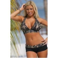 a292be466d New Army Brat Banded Bikini - This camo and black bikini is the perfect suit  for the more active beach bound babe! Feel sexy while totally covered in  all ...