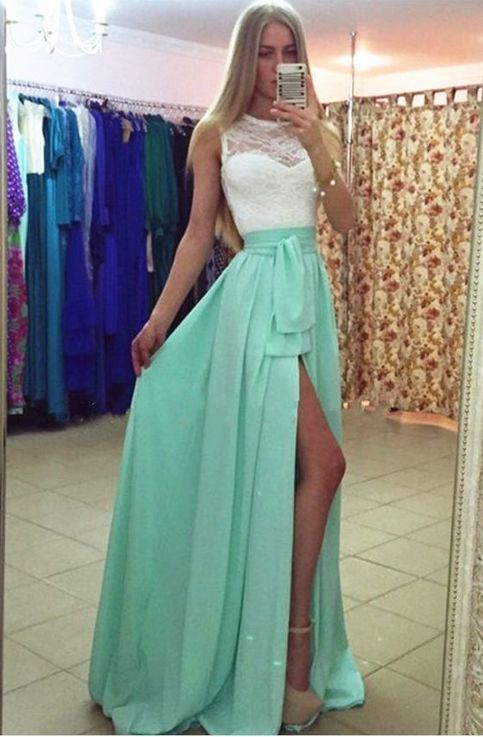 Mint Green Evening Dresses, Chiffon Evening Dresses, Evening Dresses,Evening Gowns,Zipper Evening Dress, Red Carpet Dresses – Ropa2