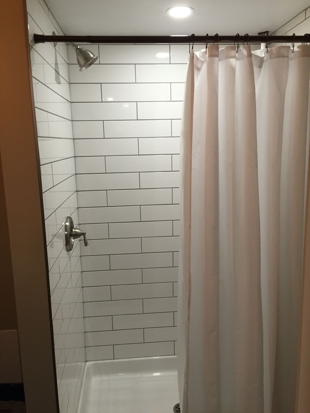 Bathroom Grout shower with 16x4 subway tile and grey grout. | our finished