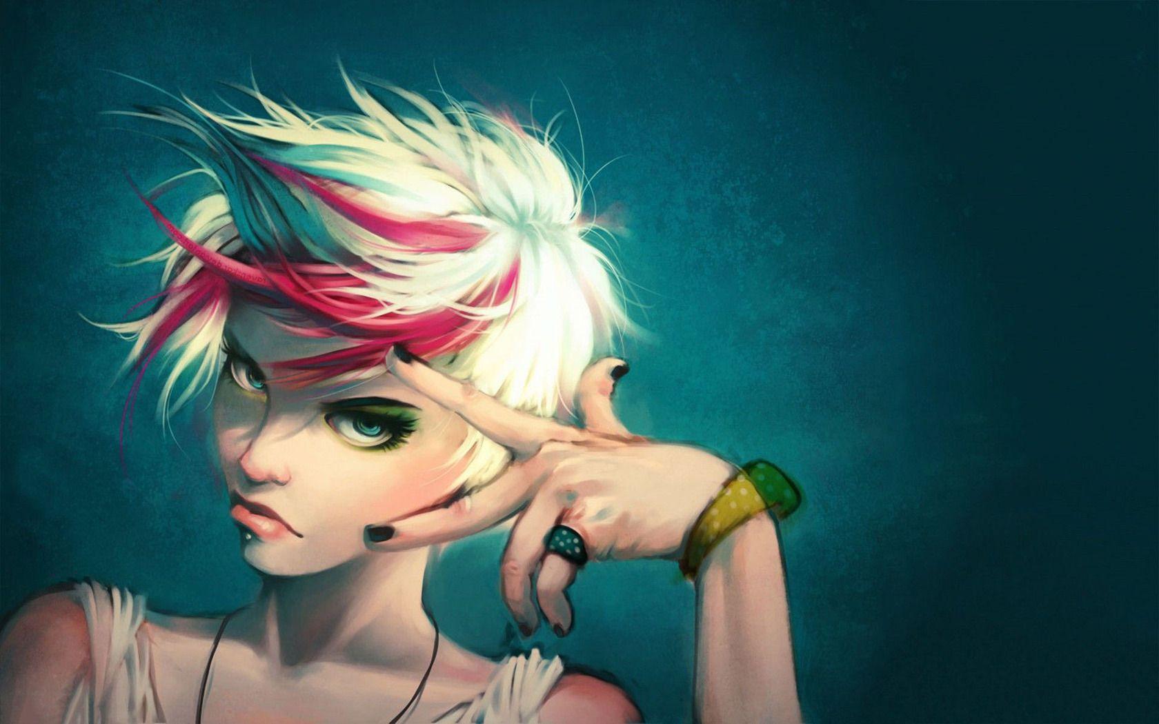 Punk Girl Style Imashon Com Punk Girl Monochrome Art Girl Cartoon