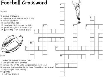 Football Crossword Puzzle Crossword Crossword Puzzles Football