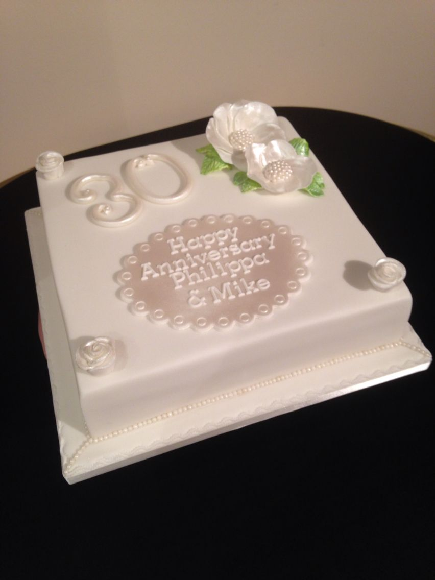 30th wedding anniversary cake pearl themed with pearl