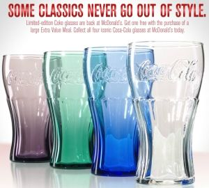 d403832ac82636 Limited-edition Coke Glasses are back at McDonald's this holiday season.  The glasses come in four options: purple, green, blue, and clear and are  available ...