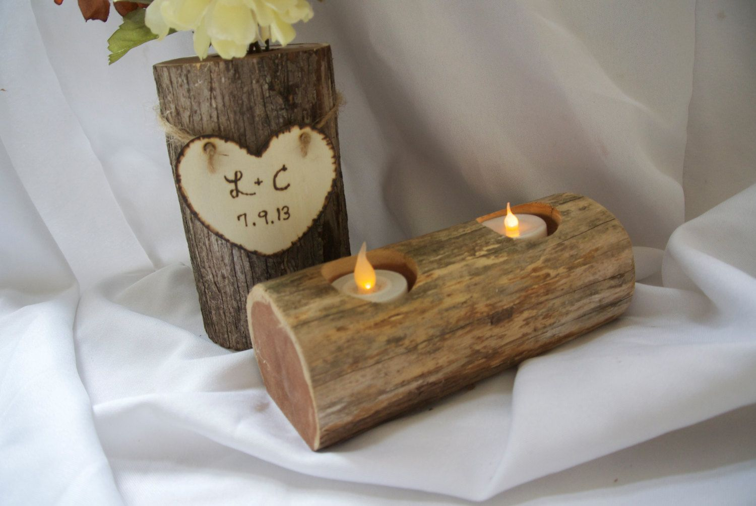5th Anniversary Gift Log Vase & Candle Holder by JCBees on Etsy, $89.00