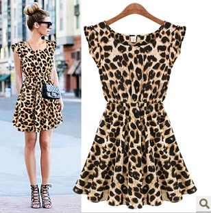 New 2014 Fashion Print Casual Dress O-neck Sleeveless Leopard Mini Print Dresses Free shipping $16.71