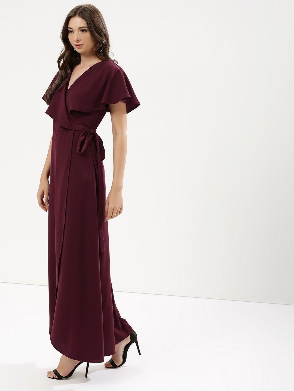16de3def9960 Buy Wrap Maxi Dress For Women - Women s Maroon Maxi Dresses Online in India