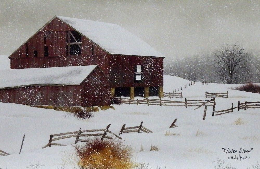 SNOWFALL by Billy Jacobs FRAMED ART PICTURE 9X21 Barn Birds Winter Cardinal Barn