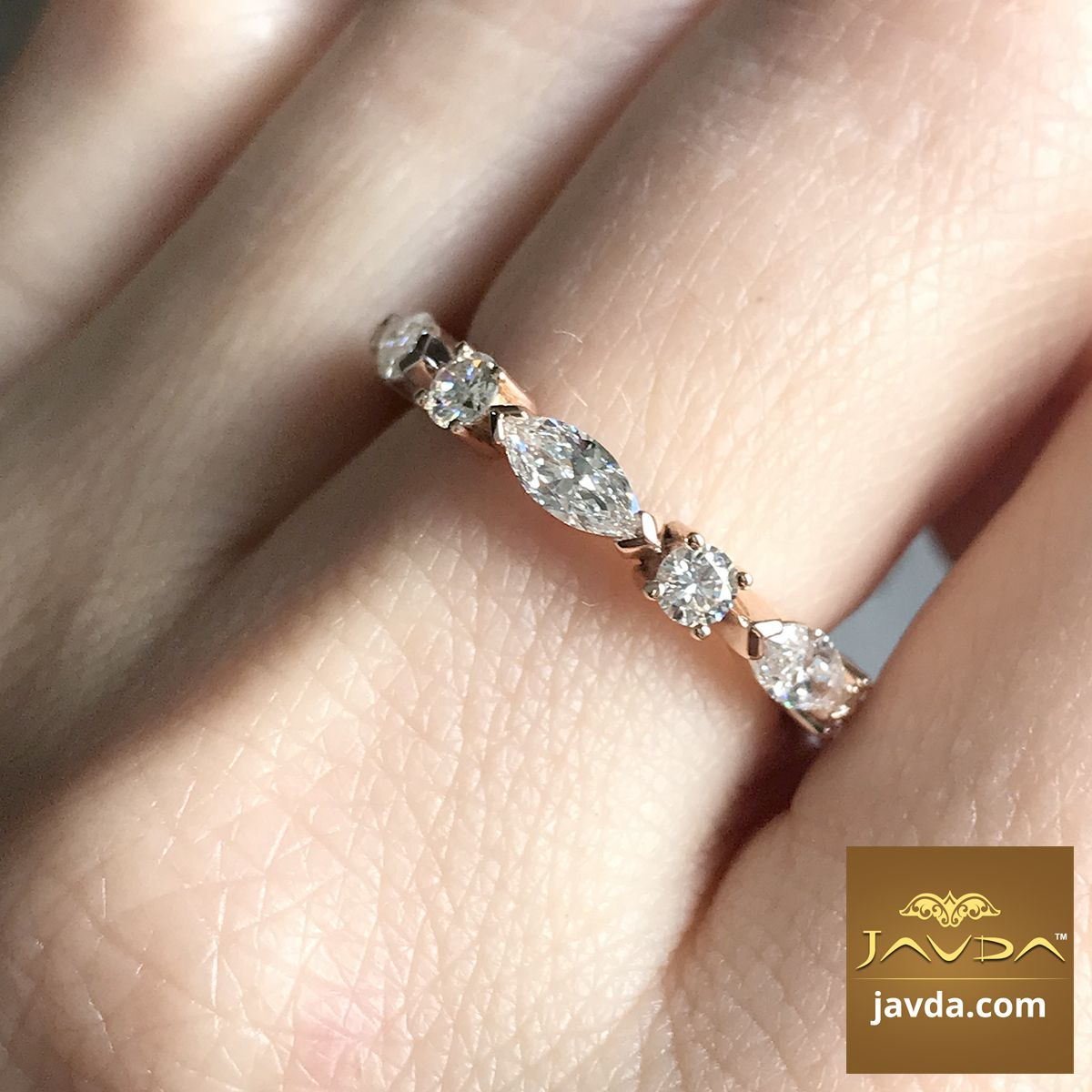 Classic Women S Eternity Band 18k Rose Gold Marquise Round Diamond Ring 1 62ct Tw Wedding Bands Eternity Band Diamond Womens Wedding Bands