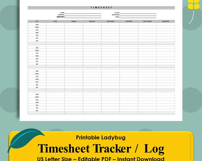 Printable Timesheet Tracker, Hours Log, Hours Tracker, Contractor
