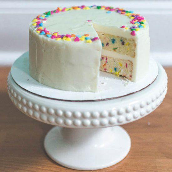 a small 6 inch vanilla funfetti cake with fluffy vanilla