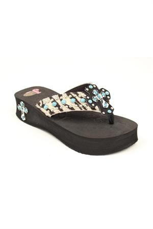1d8bf4c8d Justin Leah Zebra   Turquoise Flip Flop. I just bought these and love them!