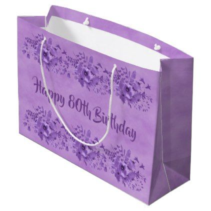 80th Birthday Ultra Violet Watercolored Flowers Large Gift Bag