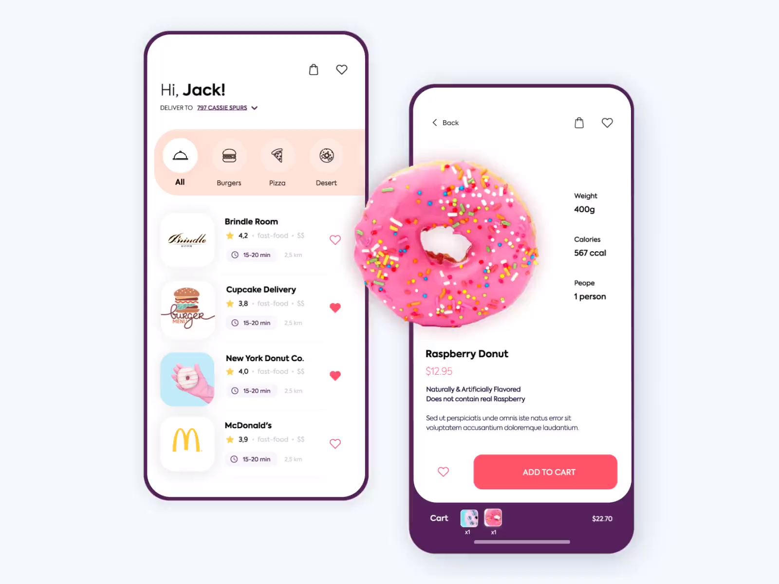 Sweet food app design UI