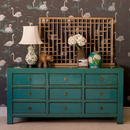 A Turquoise Blue Lacquered Hand Made Wooden Chest Of 9 Drawers Make A Statement With This Pretty Blue 9 Drawer Ches Asian Room Wooden Chest Asian Furniture