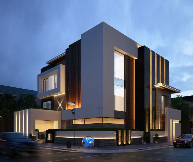 Modern home facade v renderings modern homes for Modern house facades