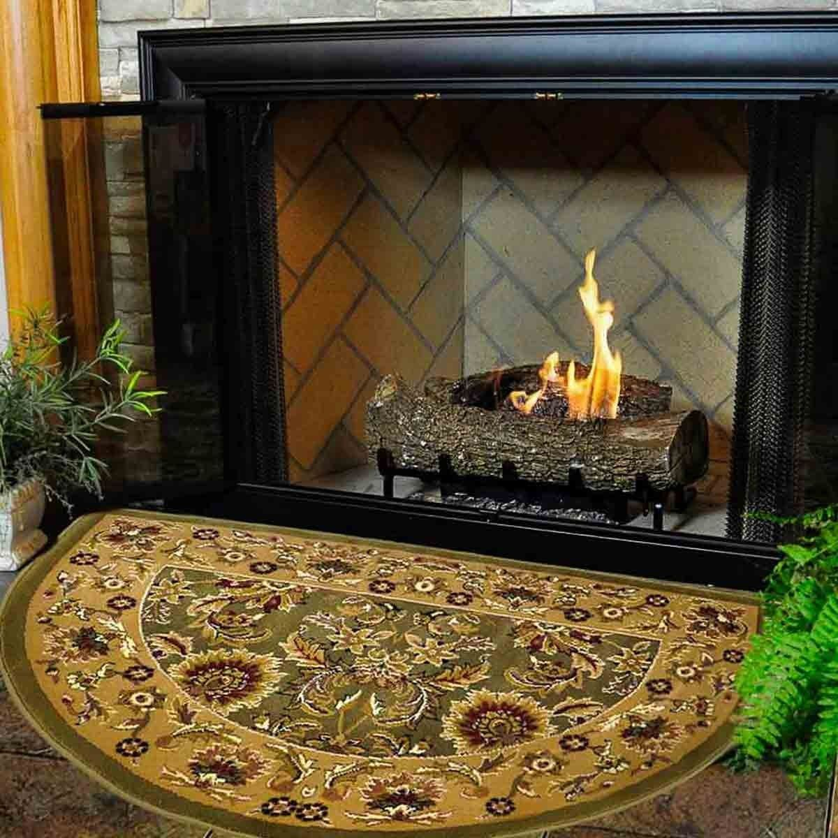 46 Half Round Green And Taupe Kashan Hearth Rug Hearth Fireplace Hearth Fireplace Accessories